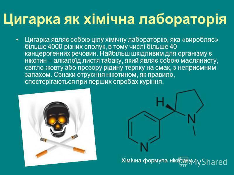 Цигарка як хімічна лабораторія Цигарка являє собою цілу хімічну лабораторію, яка «виробляє» більше 4000 різних сполук, в тому числі більше 40 канцерогенних речовин. Найбільш шкідливим для організму є нікотин – алкалоїд листя табаку, який являє собою