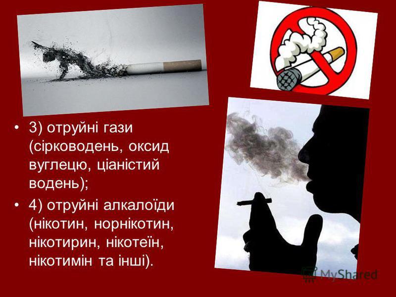 3) отруйні гази (сірководень, оксид вуглецю, ціаністий водень); 4) отруйні алкалоїди (нікотин, норнікотин, нікотирин, нікотеїн, нікотимін та інші).