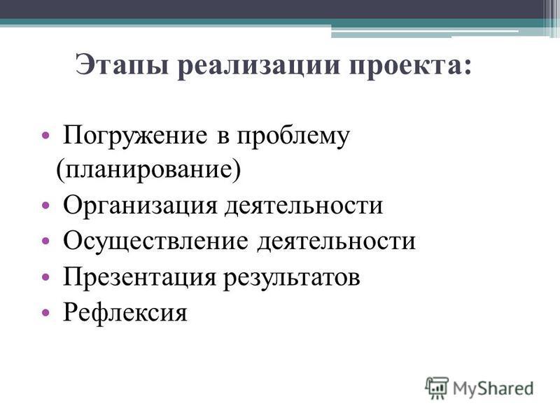 Этапы реализации проекта: Погружение в проблему (планирование) Организация деятельности Осуществление деятельности Презентация результатов Рефлексия