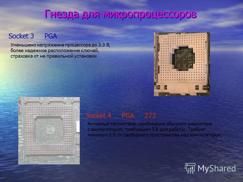 Гнезда для микропроцессоров Socket 3 PGA Уменьшено напряжение процессора до 3.3 В, более надежное расположение ключей, страховка от не правильной установки Socket 4 PGA 273 Активный теплоотвод, комбинация обычного радиатора с вентилятором, требующим