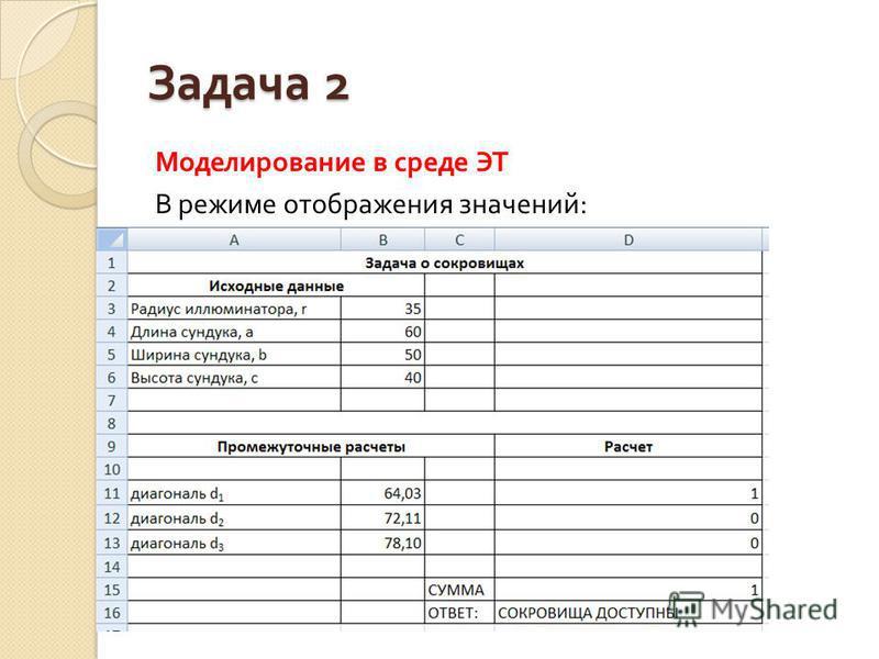 Задача 2 Моделирование в среде ЭТ В режиме отображения значений :