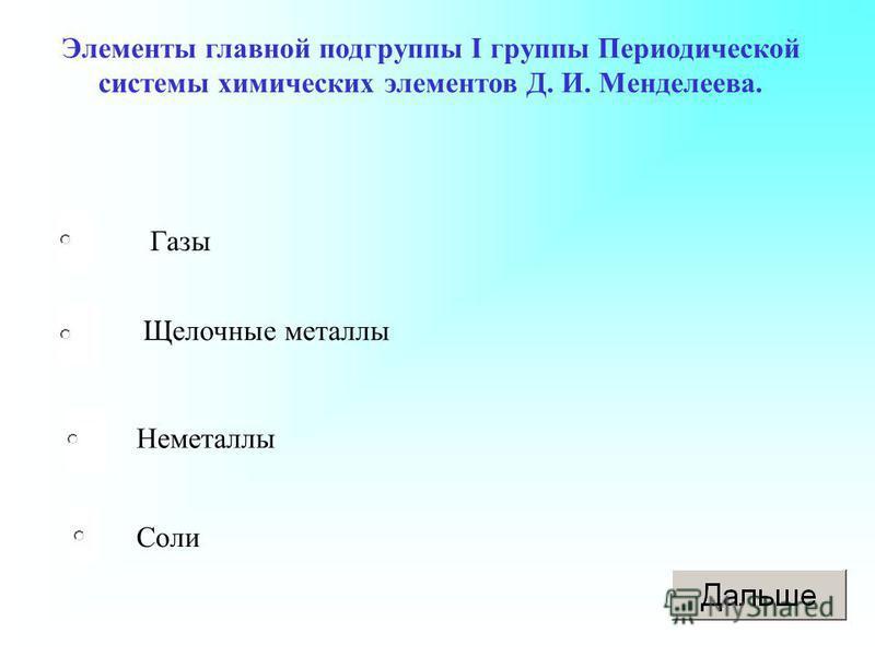Элементы главной подгруппы I группы Периодической системы химических элементов Д. И. Менделеева. Газы Щелочные металлы Неметаллы Соли