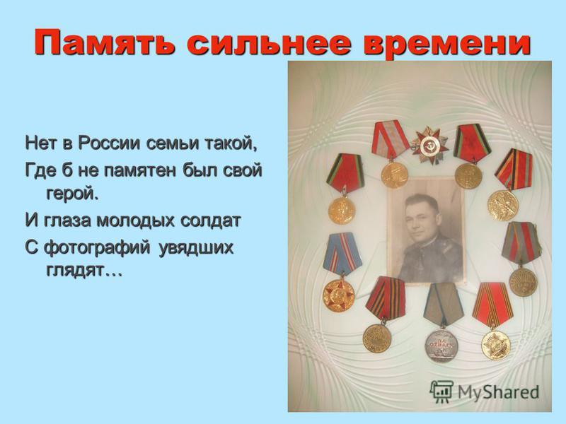 Память сильнее времени Нет в России семьи такой, Где б не памятен был свой герой. И глаза молодых солдат С фотографий увядших глядят…