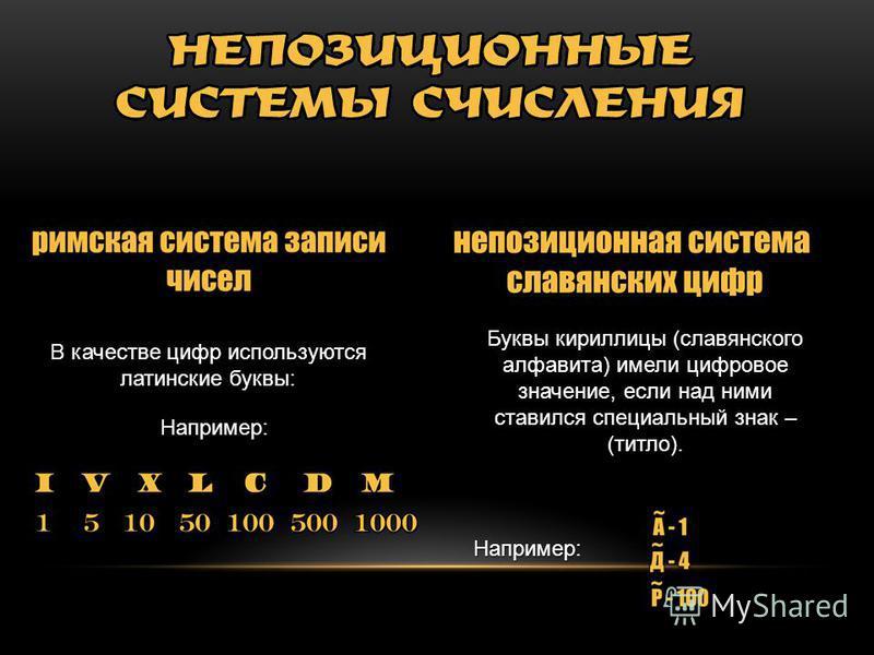 Буквы кириллицы (славянского алфавита) имели цифровое значение, если над ними ставился специальный знак – (титло). Например: В качестве цифр используются латинские буквы: Например: