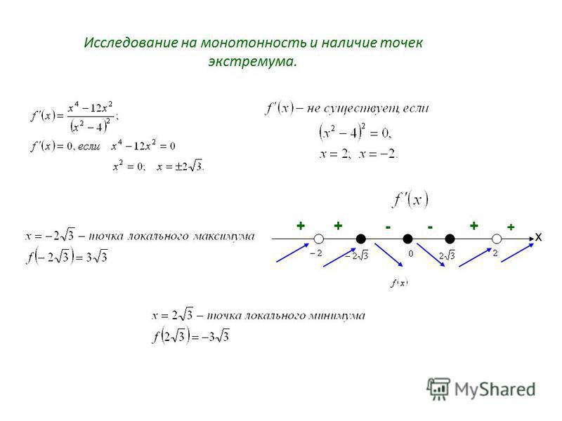 Исследование на монотонность и наличие точек экстремума. х + +--++