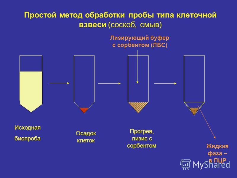 Исходная биопроба Осадок клеток Прогрев, лизис с сорбентом Лизирующий буфер с сорбентом (ЛБС) Жидкая фаза – в ПЦР Простой метод обработки пробы типа клеточной взвеси (соскоб, смыв)