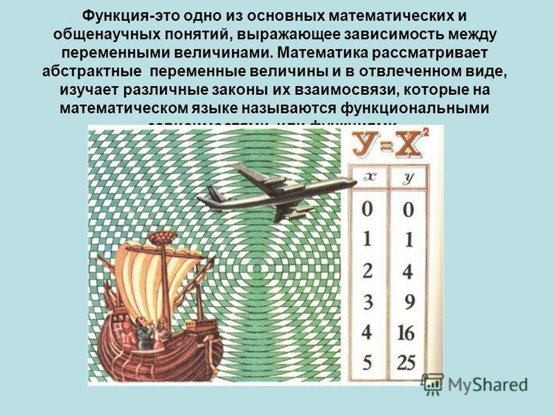 Функция-это одно из основных математических и общенаучных понятий, выражающее зависимость между переменными величинами. Математика рассматривает абстрактные переменные величины и в отвлеченном виде, изучает различные законы их взаимосвязи, которые на