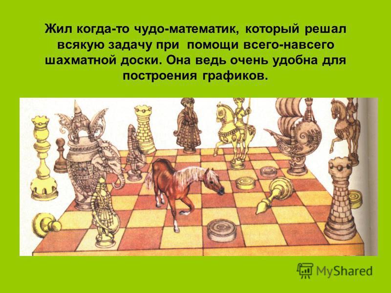 Жил когда-то чудо-математик, который решал всякую задачу при помощи всего-навсего шахматной доски. Она ведь очень удобна для построения графиков.