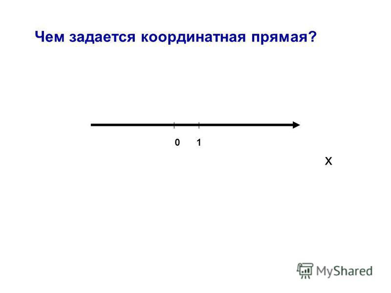 Чем задается координатная прямая? 01 x