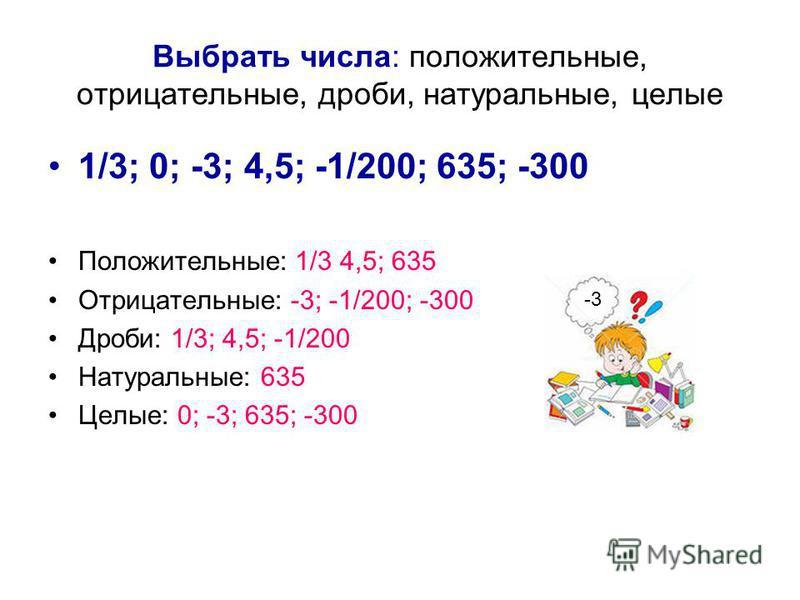 Выбрать числа: положительные, отрицательные, дроби, натуральные, целые 1/3; 0; -3; 4,5; -1/200; 635; -300 Положительные: 1/3 4,5; 635 Отрицательные: -3; -1/200; -300 Дроби: 1/3; 4,5; -1/200 Натуральные: 635 Целые: 0; -3; 635; -300 -3