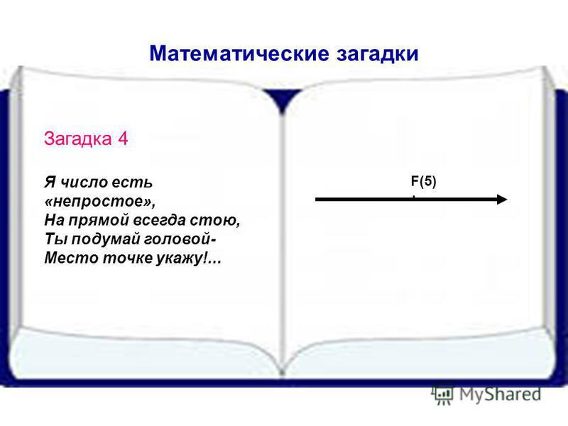 Математические загадки Загадка 4 Я число есть «непростое», На прямой всегда стою, Ты подумай головой- Место точке укажу!... F(5)