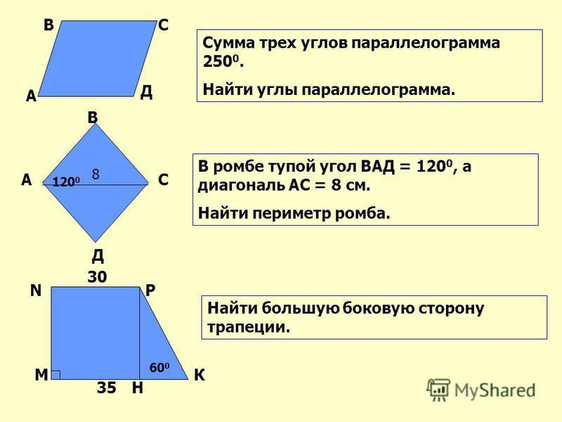 Сумма трех углов параллелограмма 250 0. Найти углы параллелограмма. В ромбе тупой угол ВАД = 120 0, а диагональ АС = 8 см. Найти периметр ромба. Найти большую боковую сторону трапеции. А ВС Д А В С Д М NP К 8 120 0 30 35 60 0 Н