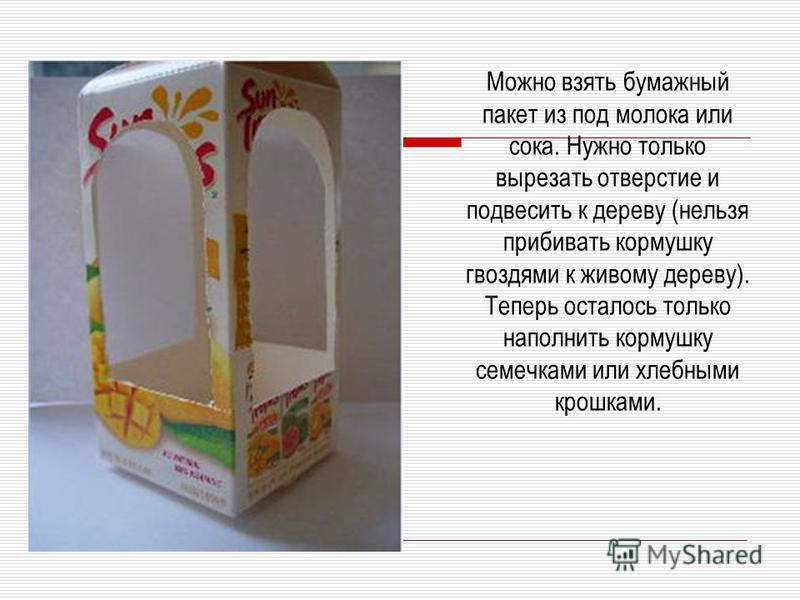 Можно взять бумажный пакет из под молока или сока. Нужно только вырезать отверстие и подвесить к дереву (нельзя прибивать кормушку гвоздями к живому дереву). Теперь осталось только наполнить кормушку семечками или хлебными крошками.