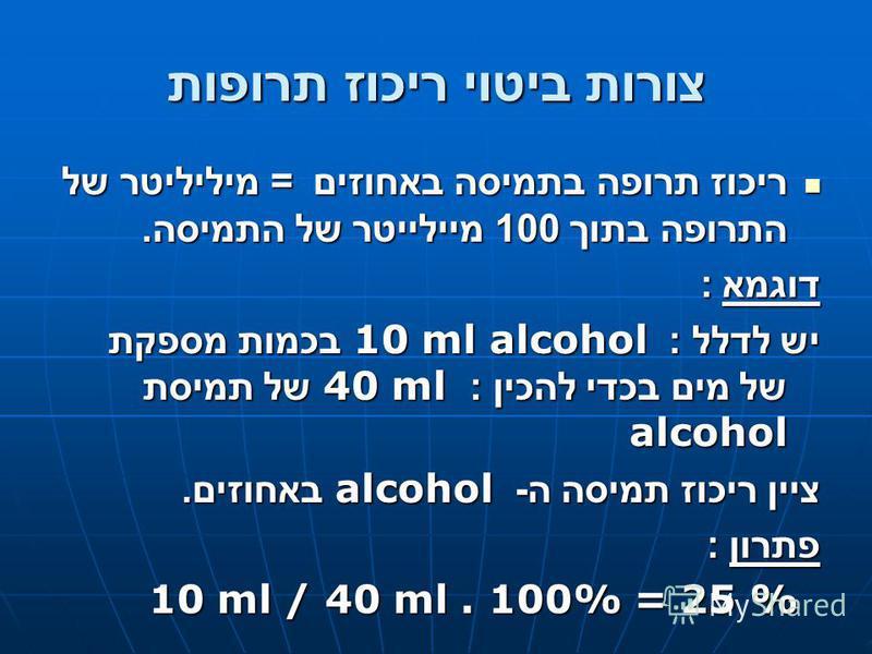 צורות ביטוי ריכוז תרופות ריכוז תרופה בתמיסה באחוזים = מיליליטר של התרופה בתוך 100 מיילייטר של התמיסה. ריכוז תרופה בתמיסה באחוזים = מיליליטר של התרופה בתוך 100 מיילייטר של התמיסה. דוגמא : יש לדלל : 10 ml alcohol בכמות מספקת של מים בכדי להכין : 40 ml ש