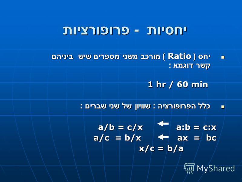 יחסיות - פרופורציות יחס ( Ratio ) מורכב משני מספרים שיש ביניהם קשר דוגמא : יחס ( Ratio ) מורכב משני מספרים שיש ביניהם קשר דוגמא : 1 hr / 60 min 1 hr / 60 min כלל הפרופורציה : שוויון של שני שברים : כלל הפרופורציה : שוויון של שני שברים : a/b = c/x a:b