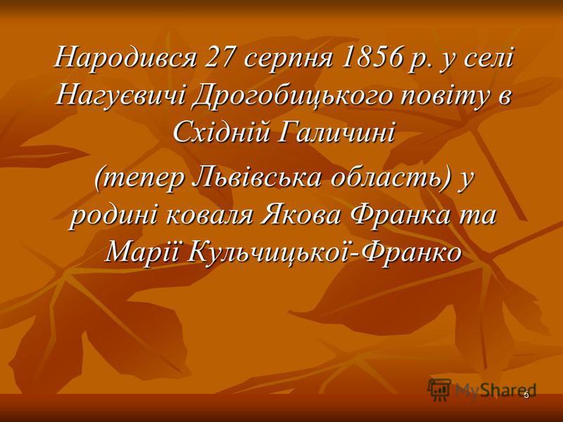 Народився 27 серпня 1856 р. у селі Нагуєвичі Дрогобицького повіту в Східній Галичині (тепер Львівська область) у родині коваля Якова Франка та Марії Кульчицької-Франко 6