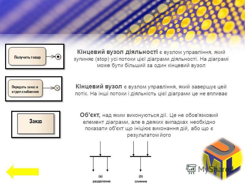 Кінцевий вузол діяльності є вузлом управління, який зупиняє (stop) усі потоки цієї діаграми діяльності. На діаграмі може бути більший за один кінцевий вузол Кінцевий вузол є вузлом управління, який завершує цей потік. На інші потоки і діяльність цієї