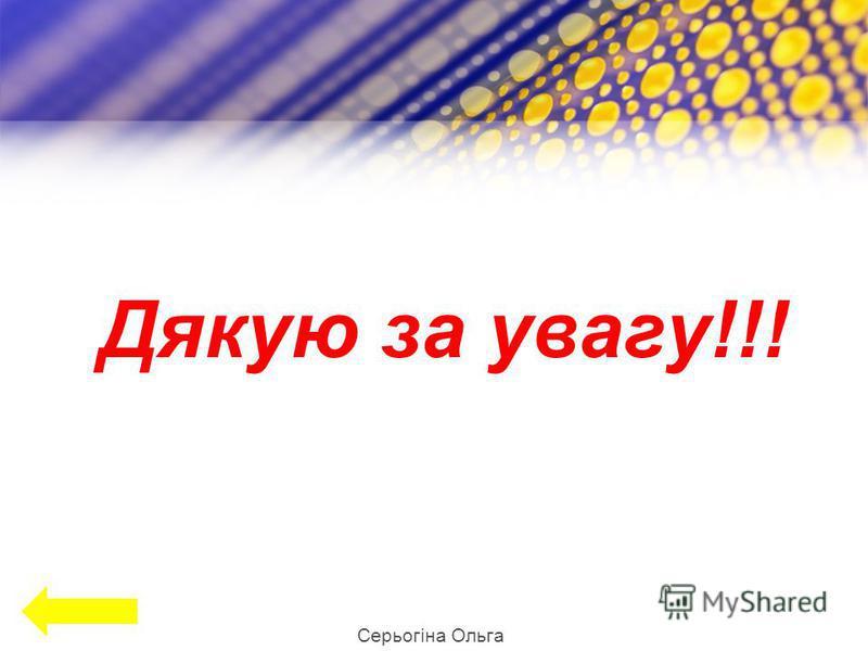 Дякую за увагу!!! Серьогіна Ольга