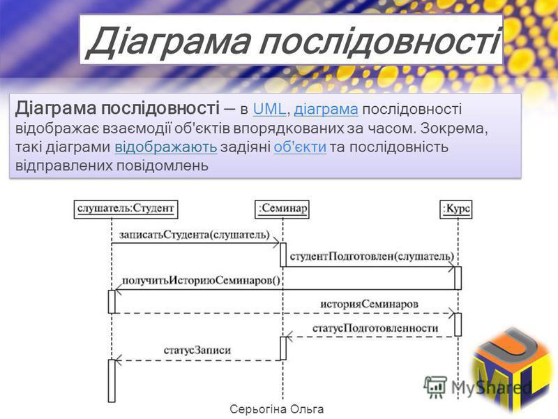 Діаграма послідовності Діаграма послідовності в UML, діаграма послідовності відображає взаємодії об'єктів впорядкованих за часом. Зокрема, такі діаграми відображають задіяні об'єкти та послідовність відправлених повідомленьUMLдіаграмаоб'єкти Діаграма