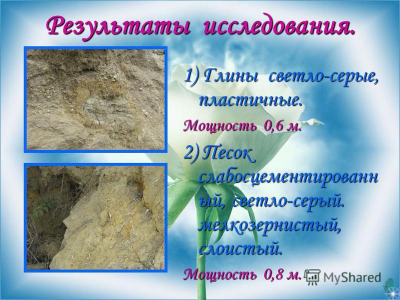 Результаты исследования. Результаты исследования. 1) Глины светло-серые, пластичные. Мощность 0,6 м. 2) Песок слабо сцементированный, светло-серый. мелкозернистый, слоистый. Мощность 0,8 м.
