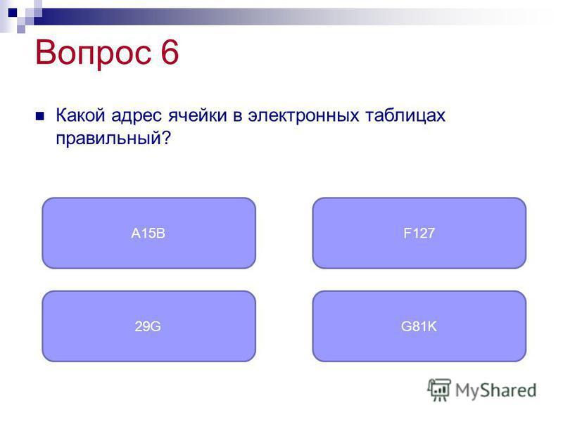 Вопрос 6 Какой адрес ячейки в электронных таблицах правильный? F127 29GG81K A15B