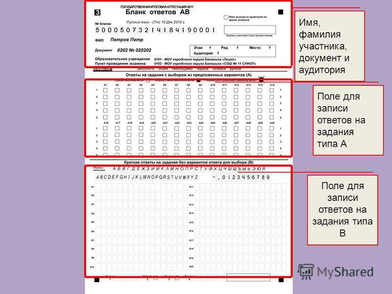 Имя, фамилия участника, документ и аудитория Поле для записи ответов на задания типа А Поле для записи ответов на задания типа В