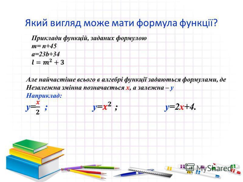 Який вигляд може мати формула функції?