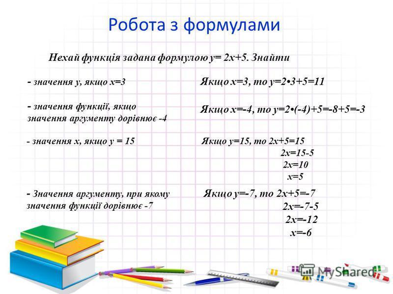 Робота з формулами Нехай функція задана формулою у= 2х+5. Знайти - значення у, якщо х=3 Якщо х=3, то у=23+5=11 - значення функції, якщо значення аргументу дорівнює -4 Якщо х=-4, то у=2(-4)+5=-8+5=-3 - значення х, якщо у = 15Якщо у=15, то 2х+5=15 2х=1