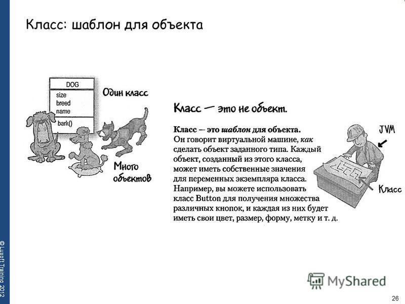 26 © Luxoft Training 2012 Класс: шаблон для объекта