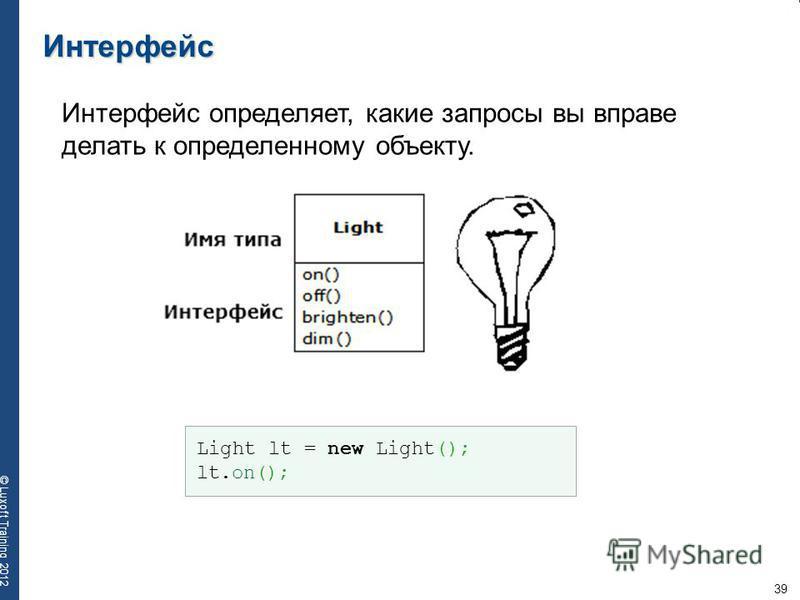 39 © Luxoft Training 2012 Интерфейс Интерфейс определяет, какие запросы вы вправе делать к определенному объекту. Light lt = new Light(); lt.on();