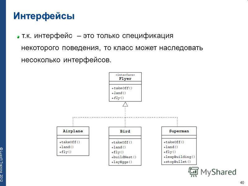 40 © Luxoft Training 2012 Интерфейсы т.к. интерфейс – это только спецификация некоторого поведения, то класс может наследовать несколько интерфейсов.