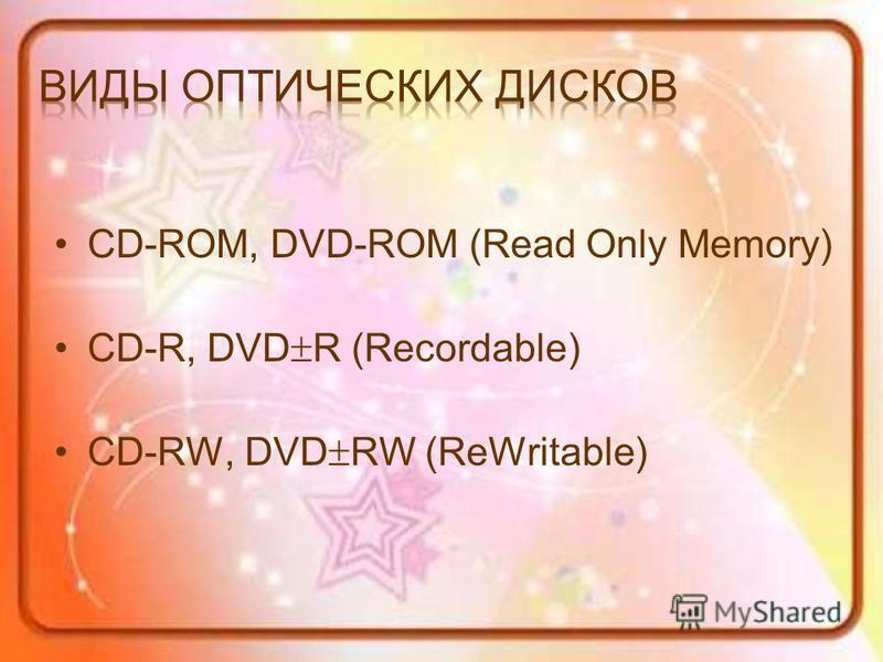 CD-ROM, DVD-ROM (Read Only Memory) CD-R, DVD R (Recordable) CD-RW, DVD RW (ReWritable)