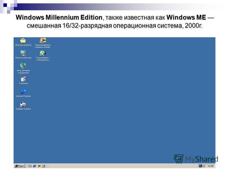 Windows Millennium Edition, также известная как Windows ME смешанная 16/32-разрядная операционная система, 2000 г.
