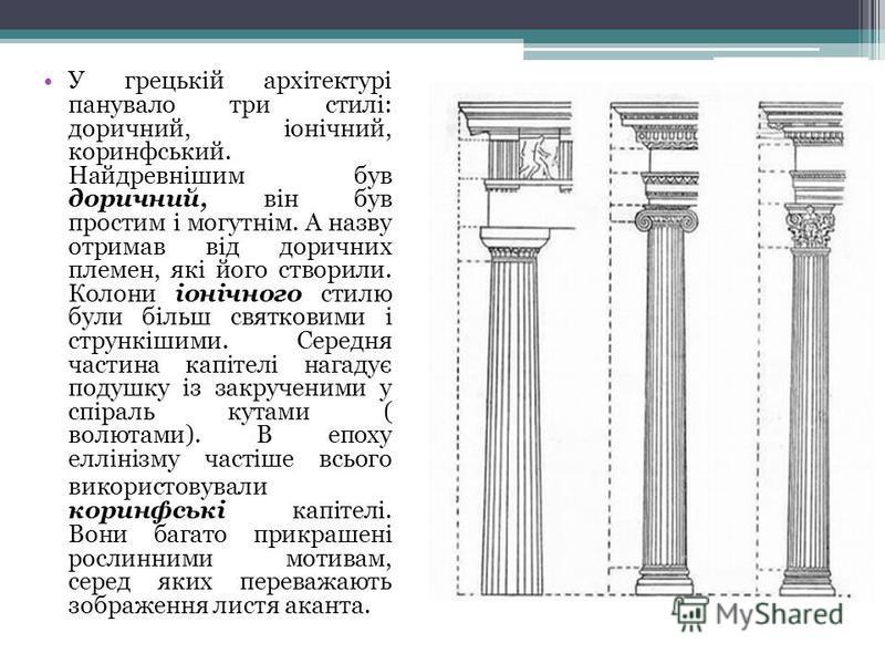 У грецькій архітектурі панувало три стилі: доричний, іонічний, коринфський. Найдревнішим був доричний, він був простим і могутнім. А назву отримав від доричних племен, які його створили. Колони іонічного стилю були більш святковими і стрункішими. Сер