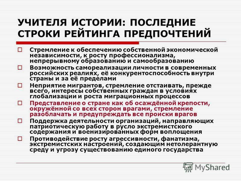 УЧИТЕЛЯ ИСТОРИИ: ПОСЛЕДНИЕ СТРОКИ РЕЙТИНГА ПРЕДПОЧТЕНИЙ Стремление к обеспечению собственной экономической независимости, к росту профессионализма, непрерывному образованию и самообразованию Возможность самореализации личности в современных российски
