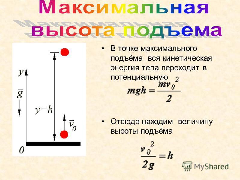 В точке максимального подъёма вся кинетическая энергия тела переходит в потенциальную Отсюда находим величину высоты подъёма