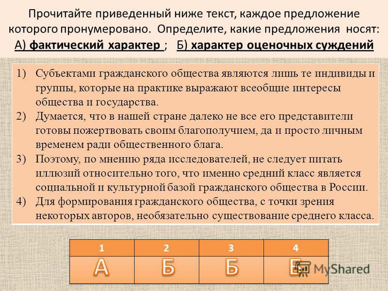 Прочитайте приведенный ниже текст, каждое предложение которого пронумеровано. Определите, какие предложения носят: А) фактический характер ; Б) характер оценочных суждений 1)Субъектами гражданского общества являются лишь те индивиды и группы, которые