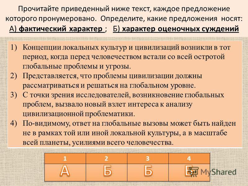 Прочитайте приведенный ниже текст, каждое предложение которого пронумеровано. Определите, какие предложения носят: А) фактический характер ; Б) характер оценочных суждений 1)Концепции локальных культур и цивилизаций возникли в тот период, когда перед