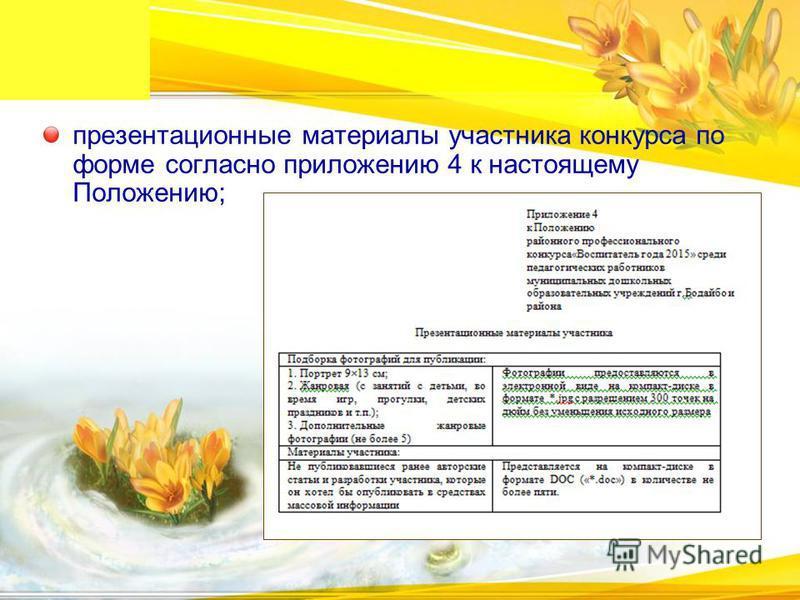 презентационные материалы участника конкурса по форме согласно приложению 4 к настоящему Положению;