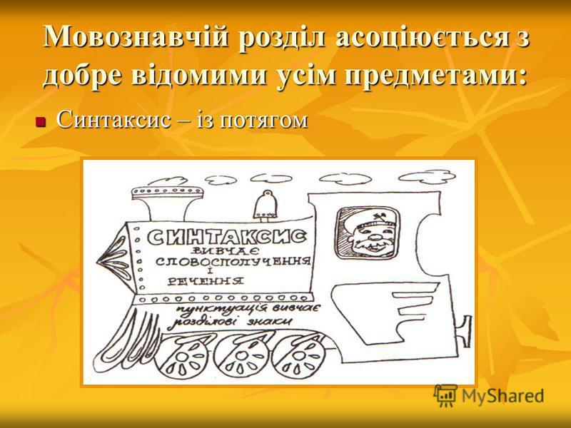 Мовознавчій розділ асоціюється з добре відомими усім предметами: Синтаксис – із потягом Синтаксис – із потягом