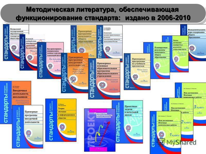 Методическая литература, обеспечивающая функционирование стандарта: издано в 2006-2010 Методическая литература, обеспечивающая функционирование стандарта: издано в 2006-2010