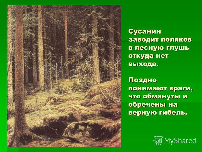 Сусанин заводит поляков в лесную глушь откуда нет выхода. Поздно понимают враги, что обмануты и обречены на верную гибель.