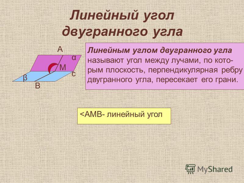 Линейный угол двугранного угла α β с А М В Линейным углом двугранного угла называют угол между лучами, по которым плоскость, перпендикулярная ребру двугранного угла, пересекает его грани. <АМВ- линейный угол