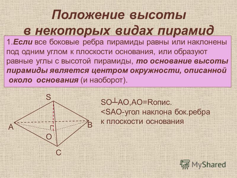 Положение высоты в некоторых видах пирамид 1. Если все боковые ребра пирамиды равны или наклонены под одним углом к плоскости основания, или образуют равные углы с высотой пирамиды, то основание высоты пирамиды является центром окружности, описьанной