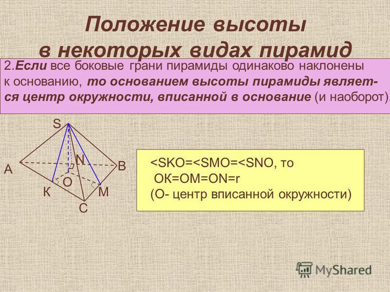 Положение высоты в некоторых видах пирамид 2. Если все боковые грани пирамиды одинаково наклонены к основанию, то основанием высоты пирамиды являет- ся центр окружности, аписанной в основание (и наоборот). А К С М В О S N <SKO=<SMO=<SNO, то ОК=ОМ=ОN=