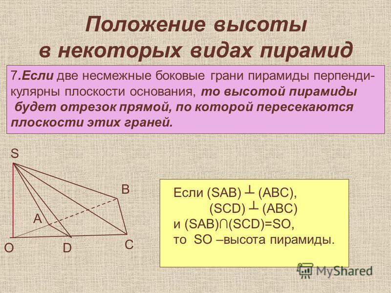 Положение высоты в некоторых видах пирамид 7. Если две несмежные боковые грани пирамиды перпендикулярны плоскости основания, то высотой пирамиды будет отрезок прямой, по которой пересекаются плоскости этих граней. А В С ОD S Если (SAB) (ABC), (SCD) (