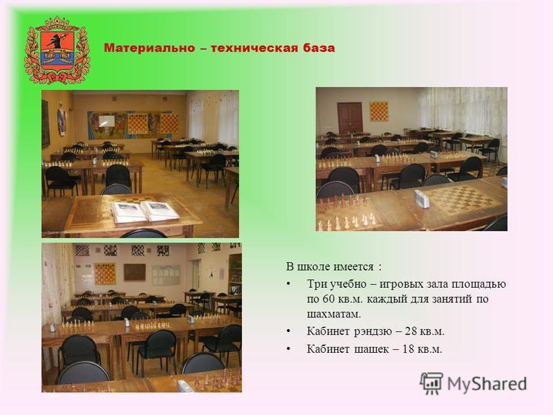 В школе имеется : Три учебно – игровых зала площадью по 60 кв.м. каждый для занятий по шахматам. Кабинет рэндзю – 28 кв.м. Кабинет шашек – 18 кв.м. Материально – техническая база