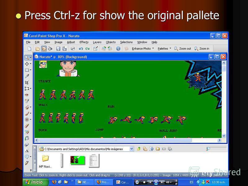 Press Ctrl-z for show the original pallete Press Ctrl-z for show the original pallete