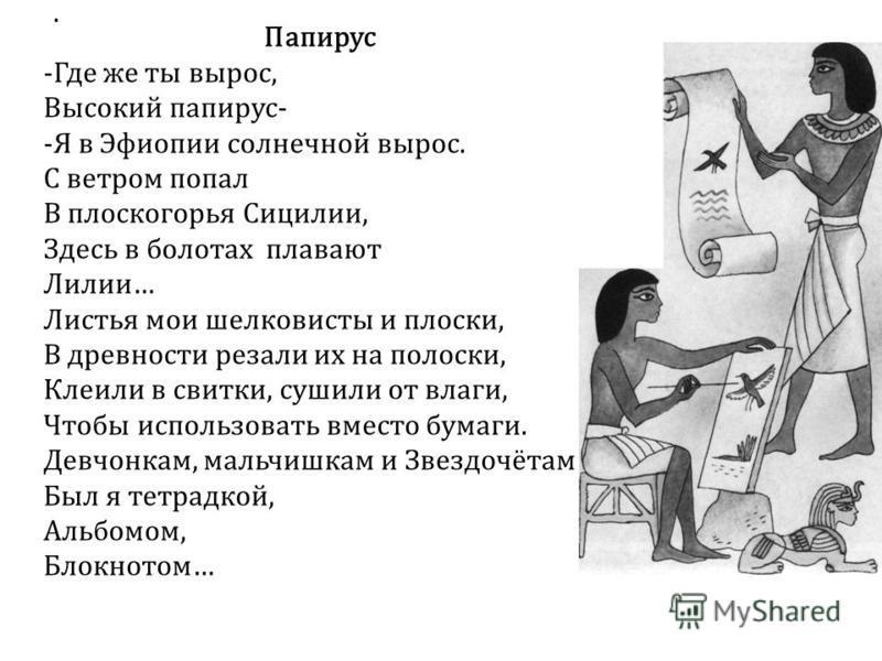 . Папирус -Где же ты вырос, Высокий папирус- -Я в Эфиопии солнечной вырос. С ветром попал В плоскогорья Сицилии, Здесь в болотах плавают Лилии… Листья мои шелковисты и плоски, В древности резали их на полоски, Клеили в свитки, сушили от влаги, Чтобы