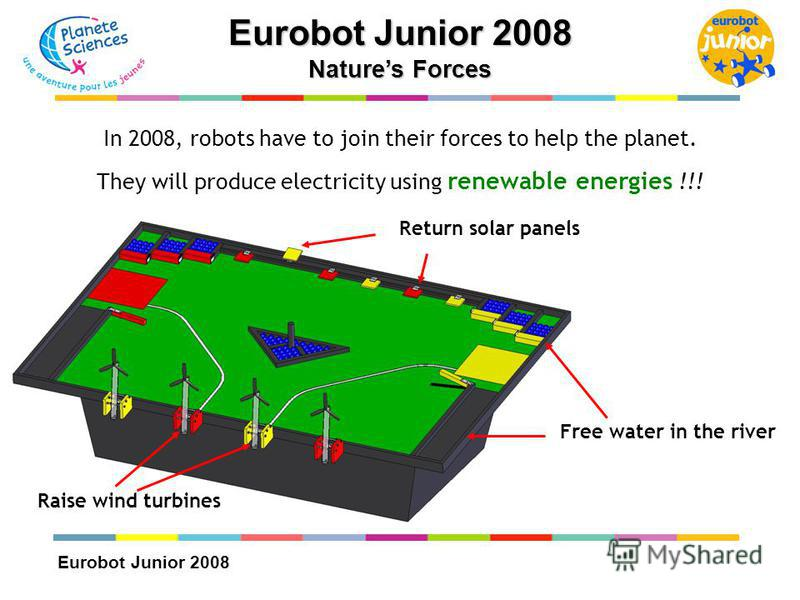 Eurobot Junior 2008 Natures Forces Raise wind turbines Return solar panels Free water in the river In 2008, robots have to join their forces to help the planet. They will produce electricity using renewable energies !!!